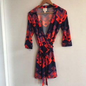 Beautiful Julie brown wrap dress